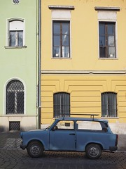 Trabant (Feldore) Tags: street old blue green classic car yellow vintage hungary budapest olympus communist walls colourful mchugh trabant em1 1240mm feldore