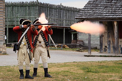 Blam! (PNG441) Tags: statepark people history gun demonstration weapon historical reenactment redcoats muzzleloader gunpowder musket fortmichilimackinac flintlock britishsoldiers smoothbore musketfiring colonialmichilimackinacpark