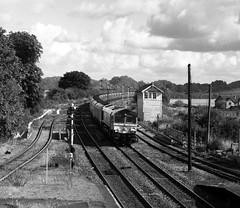 66749 at Barnetby (robmcrorie) Tags: leica white black monochrome 35mm 66 class lincolnshire east plus m2 ilford fp4 semaphore signalbox biomass immingham cottam barnetby gbrf 66749