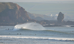 Offshore (alderney boy) Tags: beach surfer offshore wave spray stack swell bigbury bantham southhams