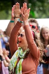 2015_CarolynWhite_Friday (88) (Larmer Tree) Tags: woman happy friday wristband clap 2015 handsintheair mainlawn carolynwhite