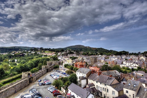 View of Conwy From Conwy Castle, North Wales.