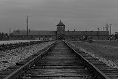 IMG_1816 (Bucks nature tog) Tags: road railroad white black building holocaust site memorial track entrance poland krakow rail ii cracow auschwitz lesser polonia birkenau polski auschwitzbirkenau