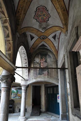 Fresques, piazza del Mercato, Belluno, province de Belluno, Vénétie, Italie.