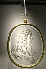 Medallion With Portrait Of Louis XIV (pecooper98362) Tags: corning newyork corningmuseumofglass 3500yearsofglass medallion medallionwithportraitoflouisxiv glassmedallion brassframe bernardperrot