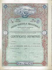 CASSA AGRICOLA INDUSTRIALE (scripofilia) Tags: 1909 agricola azioni cassa cassaagricolaindustriale industriale