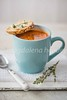tomato soup with herby creme cheese baguette (magshendey) Tags: food foodphoto soup tomato foodstyling warming mug blue herbs thyme