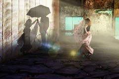 Do you believe in angels? (Silvia Andreasi) Tags: imagesbeyondmirror shadow umbrella ghosts woman light bright flare ruins abandoned fineartphotography conceptualphotography surrealmood silviaandreasi movement sundial goldenhour hope photomanipulation ethereal selfportrait time spacetime dreamscape storytelling contrast textured fantasy fabric me