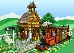 "LEGO Sunday Afternoon Tea Train to Tetley (Brickbaron) Tags: lego railway trains station ""rowlandemett"" ""peterbarnsfield"" ""paulhetherington"" brickbaron ""narrowgauge"" locomotive ""steamtrain"" english whimsical quaint brickcan tetleytea"
