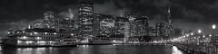 Embarcadero (SF Night No. 2) (ben_leash) Tags: blue sanfrancisco city cityscape panorama panoramic night blackandwhite bw blackwhite urban waterfront skyscrapers lights california ferry boat d750 85mmf18 nikon