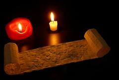 Scroll of time: 2017 (origami) (Michał Kosmulski) Tags: origami scroll tessellation candle candlelight dark 2017 newyear michałkosmulski parchmentpaper mmxvii