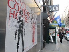 Resident Evil - Evil Comes Home Movie Poster 1168 (Brechtbug) Tags: resident evil comes home movie poster billboard sidewalk display destruction milla jovovich video game film nyc 02022017 new york city cinema marquee flickr motion december 2017 black white red graphic illustration scifi science fiction post apocalyptic future dystopia futuristic war zone female warrior amazon amazonian