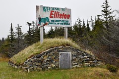 Elliston Welcome Sign with a Root Cellar, Elliston, Newfoundland