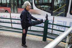 ballerina (jrockar) Tags: china street old city urban woman 3 feet up yoga lady canon photography foot shot mark candid iii streetphotography documentary snap stretch elder instant l 5d moment 1740 mk decisive qinghai xining