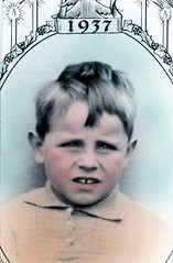TINTED PHOTO 1937 (RAZEL DAZEL JOHN MORGAN) Tags: from old uk family england bw white house man black hat vintage found for photo seaside interesting artist photographer child looking photos unitedkingdom guess no album name unknown and british unusual names on the a johnmorgan of