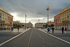 Nice - Place Masséna (Darea62) Tags: nice square masséna rail clouds art monument streetlight tramonto holiday people