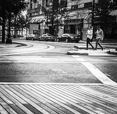 Boardwalk and Intersection (TMimages PDX) Tags: street city people urban portland geotagged photography photo image streetphotography explore photograph infrastructure boardwalk intersection crosswalk fineartphotography flickrexplore explored iphoneography