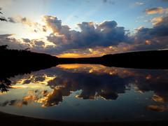 Sunset over Deer Lake--Explored (yooperann) Tags: sunset lake clouds reflections michigan deer upper rest roadside peninsula inland m28