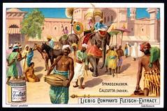 Liebig Tradecard S686 - Street Scene in Calcutta, 1901 (cigcardpix) Tags: vintage advertising ephemera liebig chromo tradecards