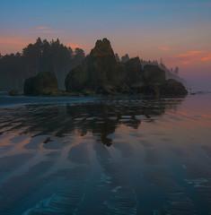 Serene Ruby Evening (NW Vagabond) Tags: ocean sunset mist seascape sand pacific ripples washingtonstate rubybeach olympicnationalpark pnw seastacks onp beachcombers 2015