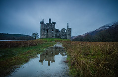 Medieval Reflection (daedmike) Tags: autumn winter mountain snow castle abandoned stone reflections scotland ruin hills loch puddles derelict kilchurncastle