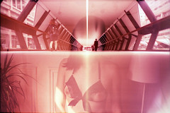 body work (fotobes) Tags: portrait woman london lamp lines nude lca xpro crossprocessed doubleexposure tunnel lingerie analogue canarywharf foottunnel fujivelvia100 zenite ratseyeview filmswap