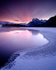 Vermilion Lakes - Sunrise (Mister The Plague) Tags: landscape winter gradnd time formations weather typeofphotography objects morning ice snow vermillionlakes seasons banffnationalpark sunrise alberta equipment sky canada location lake 3stophardgrad mountain banff ca solidnd littlestopper
