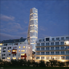 Turning Torso (ArtDen82) Tags: sweden malmö oresund baltic sea beach long exposure sunset sky clouds waterfront skyscraper architecture design calatrava outdoor