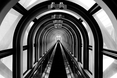 Umeda Sky Building escalator (jbarry5) Tags: umedaskybuilding umedasky osaka japan thefloatinggardenobservatory blackandwhite monochrome travelphotography travel geometry abstract escalator