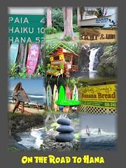On the Road to Hana (PhotoSpills Collages) Tags: photospills collage photocollage collagesoftware freesoftware maui hawaii hana roadtohana mamasfishhouse paia rainboweucalyptus hookipa hookipabeach surfing windsurfing surfboards bananabread fruitstand stonestack waterfall backbeach