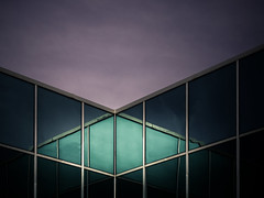 Diamond in the Sky (Darren LoPrinzi) Tags: 5d canon5d canon miii building reflections windows sky evening night diagonal diamond lines minimal minimalism green purple architectural architecturalabstract corporate corporation light