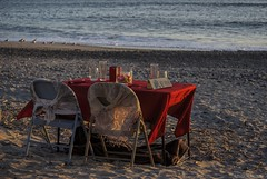 Table for two.... (Joe Hengel) Tags: valentinesday table twochairs tablefortwo danapoint socal southerncalifornia sunset sea seascape seaside silhouette beach sand orangecounty oc outdoor ocean waves water pacificocean goldenstate california ca evening tablesetting romanticdinner capobeach capistranobeach