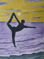 standing bow (Jef Poskanzer) Tags: ocean sunset yoga geotagged mural foundinsf standingbow geo:lon=12246036 geo:lat=3772490