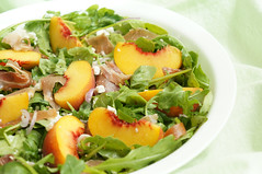 Summery Peach Salad (little ︎♥ lovelies) Tags: white cheese salad peach goat homemade vinegar balsamic grape prosciutto arugula syrupy