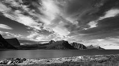 no limit to that sky (lunaryuna) Tags: autumn light bw panorama seascape mountains fall water monochrome norway season blackwhite rocks lunaryuna lofoten cloudscape sund lofotenislands northernnorway seastrait norwegiansea vastsky lofotenwall lofotenarchipelago autumnabovethearcticcircle