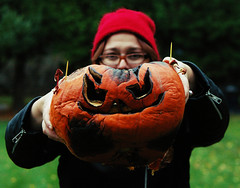 Week 45 - Point Blank (Opal in the rough) Tags: autumn portrait rot fall halloween me rotting self pumpkin point aftermath jackolantern blank mold decomposing 52weeks
