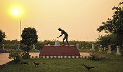 The Salt March (*Explored*) (.::Prad Patel::.) Tags: sunset monument statue march salt gandhi villa gujarat mahatma dandi gandhiji saifee