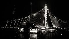 The New Span (b'jesus) Tags: sanfrancisco road leica bridge blackandwhite rain night 35mm bay summicron baybridge m9 f20