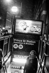 Prince Street Station (Alex Szymanek) Tags: prince street station subway snow cold december ny nyc city urban urbanite entrance people walk out polar vortex monochrome night nightlights sing its snowing woman lonely planet small world center lost getting walking steps air freezing blizzard dark life looking lights imagine contrast view outside sunday fall 2016 canon markiii 70200 5d when weather time i dont know is cool scarf hat tell them silence silent evening quiet look leave above from call right there