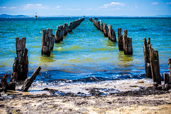 Old jetty (Theresa Hall (teniche)) Tags: australia canberra cliftonsprings nikkor2485 nikon nikond750 tamron70200 teniche theresa theresahall victoria birds brokenjetty jetty landscape mountains ocean oldjetty sea shore shoreline swell view