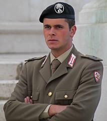 Contemporary Roman Soldier (Lark Ascending) Tags: soldier guard beret man handsome rome roman army forces protector military uniform khaki suit