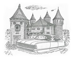 Devon Castle (rod1691) Tags: alien art pencil ufo sketch castle drawing