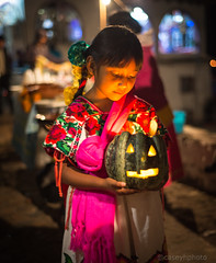 Girl + Pumpkin - Janitzio, Mexico (N+C Photo) Tags: d800 mexico travel traveler traveller travels traveling traveled adventure adventurer adventurers adventuring explore explorer explorers exploring holiday tourism tourist nikkor nikon janitzio michoacan mexicanos mexican diademuertos dayofthedead tradition celebration history girl portrait night noche historic