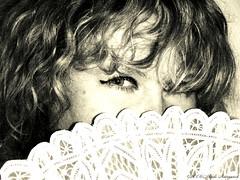 Portrait (Natali Antonovich) Tags: portrait sweetbrussels brussels belgium belgique belgie monochrome stare lace belgianlace fan coquet