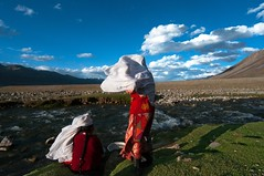 Afghanistan, kyrgyz women (silvia.alessi) Tags: afghanistan pamir clouds mountain ngc lonelyplanet wind sheperds women people travel adventure river stream openair veils wakhan red sky blue