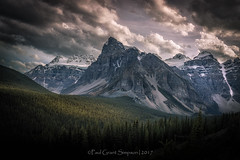 Middle Earth (pauls1502) Tags: clouds canada cliffs mountains forest rocks rockymountains lakes landscape lakemoraine morainelake stormy moody