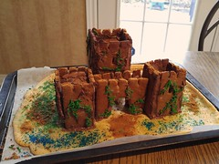 Gingerbread Castle Façade (yummysmellsca) Tags: sweet cooking cookies baking yummy yum vegetarian ginger gingerbread molasses medieval castles edible comestible food sweets dessert spicy sugar cakesparkles wilton sprinkles historical project cookingproject
