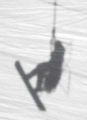 Snow Shadow (Rick Bolin) Tags: rickbolin shadow snowboarding snowboarder chairlift snowbasin utah snow photo photos photography photographer canonfd85mmf18