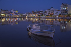 Fishing boat on the lake (andreas_loukakis) Tags: lake night boat town hellas greece crete fishingboat