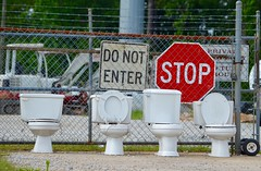 Warning!!! (I'magrandma) Tags: sign fence hilarious gate lol plumbing toilet chainlink stop barbedwire haha